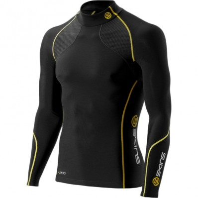 Tee shirt A200 Thermal Compression Mock manche longue Skins noir jaune