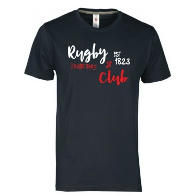 T-shirt rugby & club blanc rouge / marine adulte